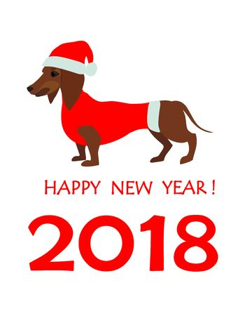 Greeting card for 2018 new year with dachshund in santa hat royalty greeting card for 2018 new year with dachshund in santa hat stock vector 87524481 m4hsunfo