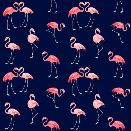Print with abstract cute pink lovely flamingo