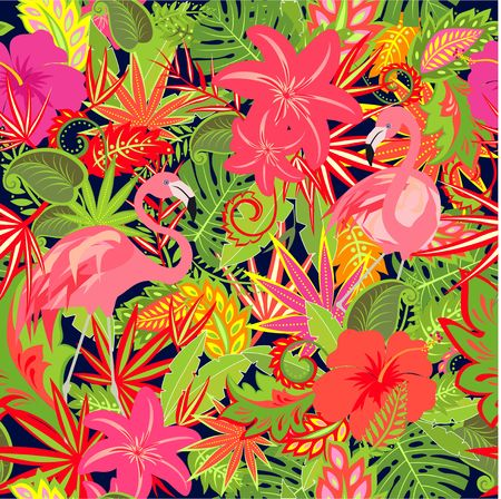 Flamingo and exotic floral pattern