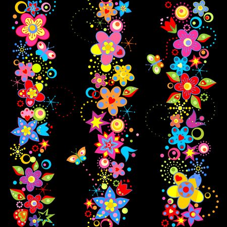 Floral borders with abstract colorful flowers Illusztráció