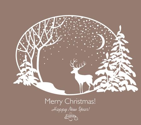 Greeting Christmas retro card with cut out paper firs, tree, reindeer and snowfall. Illustration