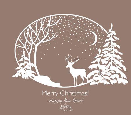 Groet retro kerstkaart met uitgesneden papier sparren, boom, rendieren en sneeuwval.