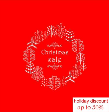 Red label for seasonal winter sale with decorative firs wreath Illustration