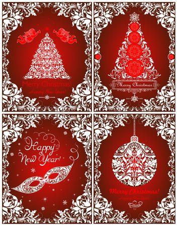 Mooie vintage rode kaarten voor Kerstmis en Nieuwjaar vakantie met papier uitgesneden bloemenboom, hangende bal, maskerademasker, engelen en decoratief.