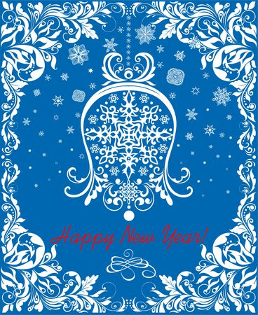 Greeting vintage blue card for winter holidays with paper cut out hanging white bell, snowflakes and floral decoration border. Иллюстрация