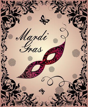 Vintage greeting card with ornate Mardi Gras mask and floral black vintage frame