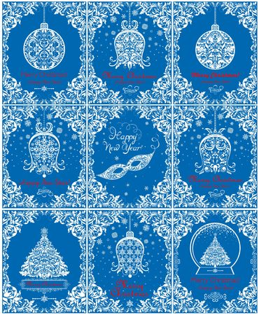 Vintage paper blue cards for Christmas and New Year greetings with hanging bell, ball, xmas tree, masquerade masque, snowflakes and summer