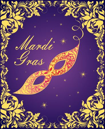 Violet greeting card with ornate golden mask Mardi Gras and floral golden vintage frame. Vector illustration Çizim