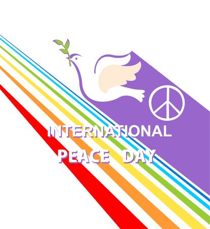 Greeting card with cut out paper flying dove, peace symbol and rainbow for International Peace day. Flat design Illustration