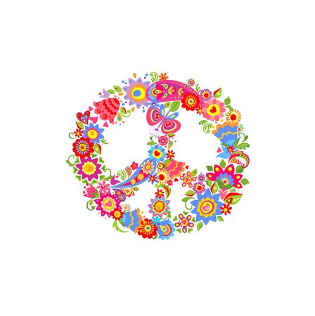 Peace flower symbol with funny colorful abstract flowers and paisley.