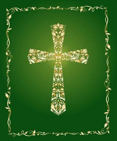 Christian ornate cross with floral pattern. Stock Illustratie