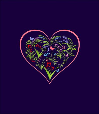 Greeting card with beautiful spring abstract flowers with heart shape