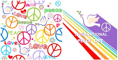Greeting card with dove, peace symbol and rainbow for International Peace day and hippie wallpaper