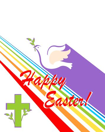 Greeting easter card with cut out paper flying dove with olive branch, cross and rainbow. Flat design