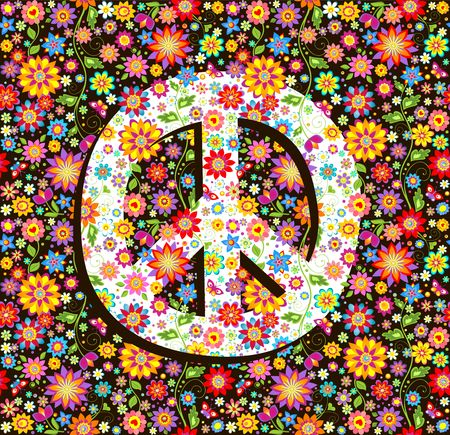 Hippie wallpaper with flowers print and peace symbol. Illustration