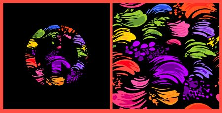 Abstract colorful background with colorful brush strokes and hippie peace symbol with colorful splashed. Vectores