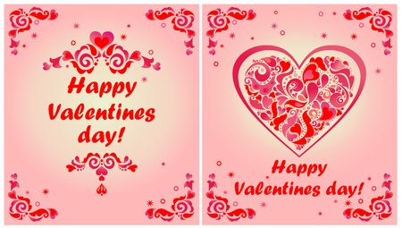Greeting cards for valentines day with red floral borders and greeting cards for valentines day with red floral borders and heart shape stock vector m4hsunfo
