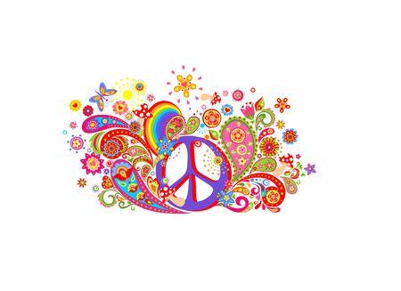 Diseño de camiseta con estampado colorido con símbolo de paz hippie, flores abstractas, setas, paisley y arco iris sobre fondo blanco.