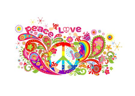 Colorful T-shirt design with hippie peace symbol, abstract flowers, mushrooms, paisley and rainbow on white background 矢量图像