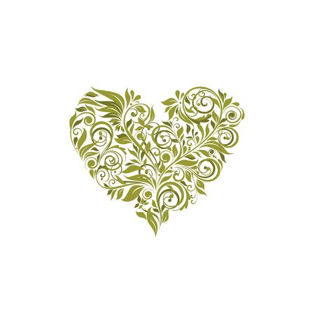 Floral olive heart shape on white background
