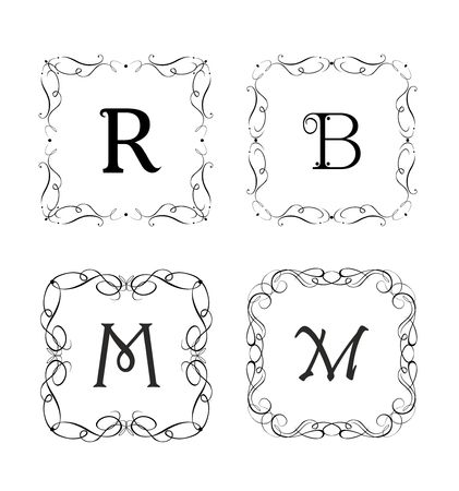 Collection of beautiful vignette and frames for jewelery store, wedding design, menu card, restaurant, cafe, hotel, logo templates, monogram