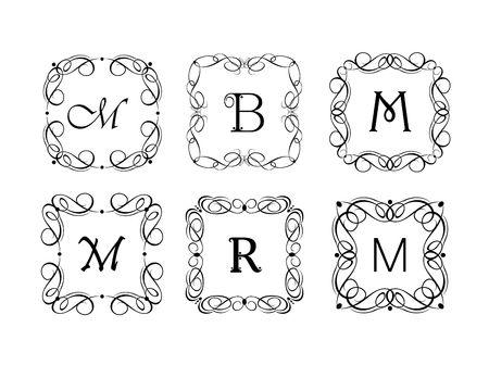 Vignette and frames for the jewelery store, wedding design, menu card, restaurant, cafe, hotel, logo templates, monogram Illustration