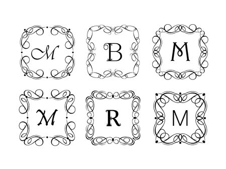 Vignette and frames for the jewelery store, wedding design, menu card, restaurant, cafe, hotel, logo templates, monogram Ilustração
