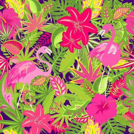 Colorful wallpaper with exotic flowers, tropical leaves and pink flamingos pattern