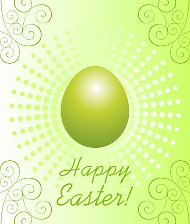 Easter greeting card with colored green egg