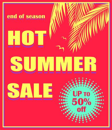 Hot red poster with hot summer sale lettering, offer mint color label, palm leaves and seagull. Art deco style. Illustration
