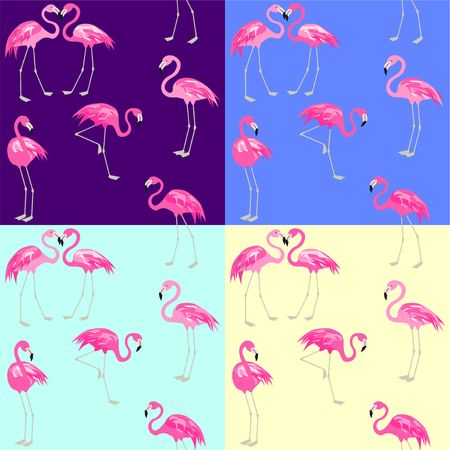 Violet, blue, yellow and mint color fashion wallpapers with cute pink flamingos vector illustration set