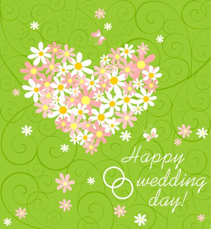 Wedding green card with pink and white daisy bouquet with heart shape, wishes and rings