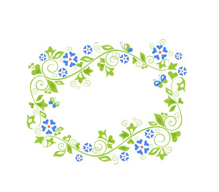 Beautiful decorative floral green wreath with blue periwinkle flowers. Flat design
