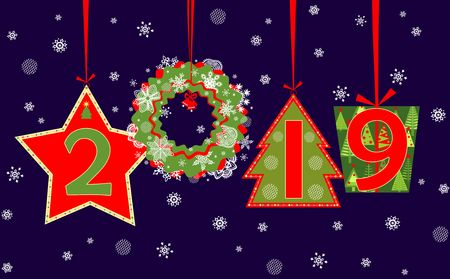 Banner for 2019 New Year season greeting applique with hanging cut out numbers, gift box, wreath, fir, star and snowflakes. Red green flat design
