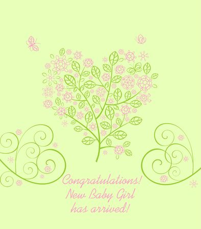 Baby girl arrival greeting light green card with beautiful blossoming decorative lacy tree with pink flowers in heart shape Stock Illustratie
