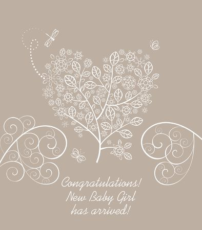 Baby girl arrival greeting pastel card with beautiful blossoming decorative lacy tree in heart shape Stock Illustratie