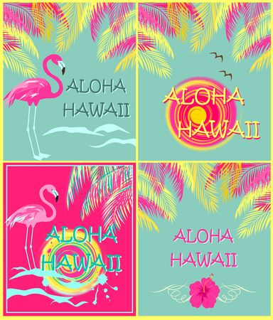 Summery fashion prints variation wit Aloha Hawaii lettering, palm leaves, sun, seagull, hibiscus and pink flamingo. Flat design