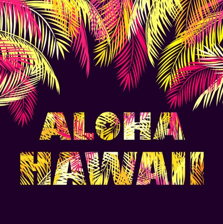 T-shirt print with Aloha Hawaii lettering with yellow and pink palm leaves on dark background