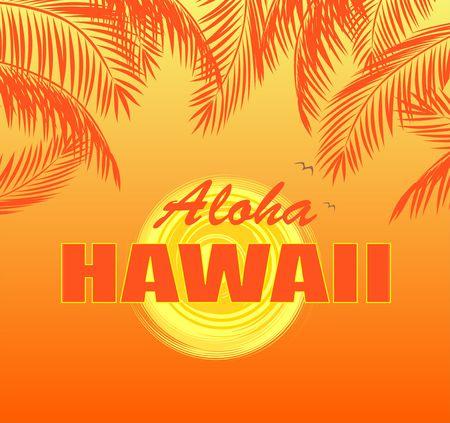 T-Shirt Print mit Aloha Hawaii Schriftzug, Sonne und orangefarbenen Palmblättern auf heißem gelben Hintergrund Vektorgrafik