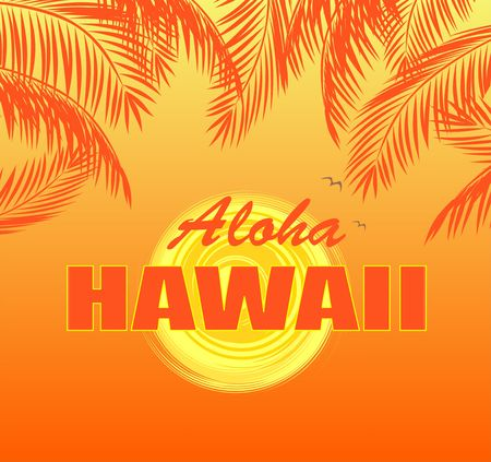 T-shirt print with Aloha Hawaii lettering, sun and orange palm leaves on hot yellow background Ilustración de vector