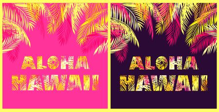 T-shirt prints variation with Aloha Hawaii lettering with yellow and pink palm leaves on a dark background and hot pink background