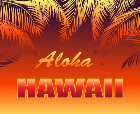 T-shirt hot tropical print with Aloha Hawaii lettering, seagull and orange palm leaves