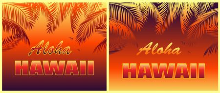 T-shirt hot tropical prints variation with Aloha Hawaii lettering, seagull and orange palm leaves silhouettes on night background
