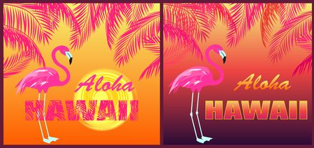 Funny T shirt prints with Aloha Hawaii lettering, flamingo, sun and orange and pink palm leaves silhouettes