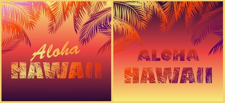 T shirt neon fashion prints variation for beach night party with Aloha Hawaii lettering and colorful palm leaves Illustration