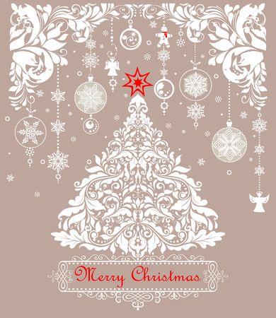 Biglietto di auguri pastello per albero di Natale con grembiule e angeli