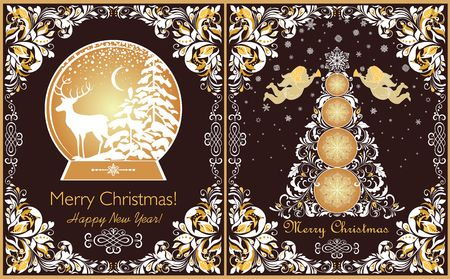 Xmas tree, xmas tree, golden angels, snowflakes and reindeer Illustration