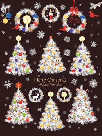 Merry Christmas greeting card design template vector illustration Stock Illustratie
