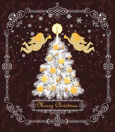 Merry Christmas greeting card design template vector illustration Ilustração