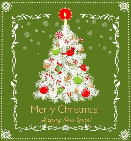Merry Christmas greeting card design template vector illustration